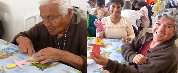 Volunteer in Quito with old and homeless persons at a center in the new town.