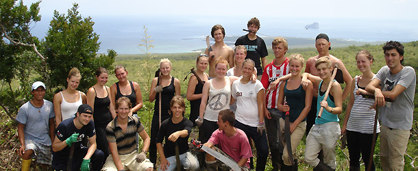 Global citizenship in the Galapagos on the island of San Cristóbal where students can volunteer to remove invasive species